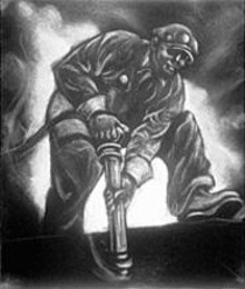 "Dox Thrash, ""American Defense Worker,"" circa 1941, carborundum over etched guidelines"