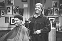 Ice Cube (right) cuts it close in Barbershop.