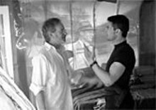 DAVID  JAMES - Tom Cruise and Steven Spielberg have a close encounter (oh, so ugh) on the set of Minority Report.