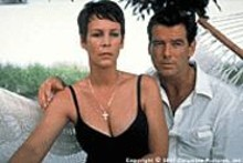 Jamie Lee Curtis and Pierce Brosnan in The Tailor of Panama, an inventive and occasionally surprising -- but curiously action-free -- adaptation of John Le Carr's spy novel.