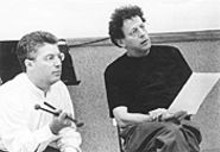 "Timpanist Jonathan Haas (left) in the studio with composer Philip Glass. ""You know,"" Glass told Haas when he learned the musician had landed a grant for the composer's commission, ""I don't have a thought in my mind what I'm going to write. That's good, right?"""