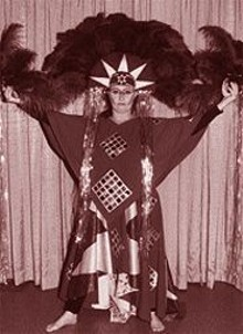 "Masquerade competitor Nancy Mildebrandt goes ""Aztec techno-tribal"" at Archon '99."