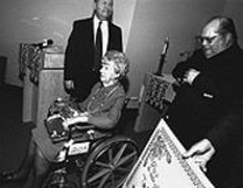 JENNIFER  SILVERBERG - Olive Dempsey, flanked by her attorney, Eric Taylor (left), and financial adviser, Jim Richardson
