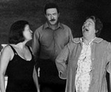 Giulia Pagano as Maureen, Matt Loney as Pato and Pauline Flanagan as Mag in The Beauty Queen of Leenane