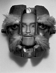 "Canada, Kwakwaka'wakw people, ""Transformation Mask,"" late 19th century, wood and pigment, 16 by 13 by 9 inches"
