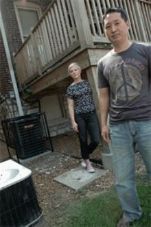 JENNIFER  SILVERBERG - Cold case: Andrew Joo (foreground) and Erika Lippert had - their air conditioner stolen.