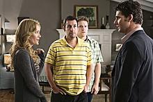 Not always ha-ha funny: Adam Sandler and Seth Rogen star in Judd Apatow's latest.