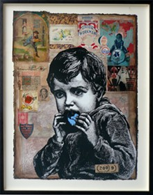 """Jon Cournoyer, """"A Side Order of Everthing, #2,"""" serigraph, paint and collage, 22 by 30 inches, at Hoffman LaChance."""