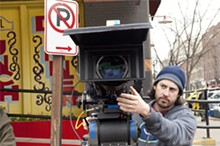 DALE ROBINETTE - Jason Reitman on the set of Up in the Air.