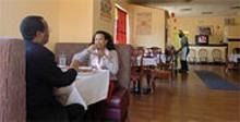 JENNIFER  SILVERBERG - Ghebre Michael Hagos and Abrehet Yihdego enjoy lunch at Queen of Sheba.