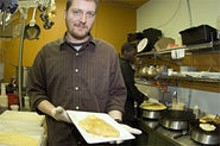 JENNIFER  SILVERBERG - Holy crêpe! Dave Bailey displays Rooster's tasty claim to fame.