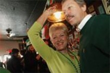JENNIFER  SILVERBERG - Instant party: Helen Vasel (left) and Chris Shaw (right) celebrate St. Pat's at Failoni's.