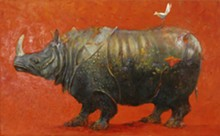 Mary Sprague, (It's a) Blooming Rhino, 2010, oil on canvas, 48 by 78 inches, courtesy of Duane Reed Gallery.