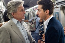Michael Douglas and Shia LaBeouf in Wall Street: Money Never Sleeps.