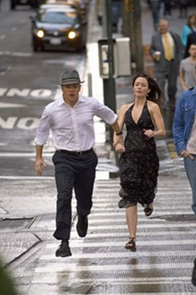 Shut up and run: Matt Damon and Emily Blunt.