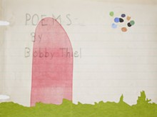 Jana Harper and Gina Alvarez, Title Page, 2009, digital print, monoprint, collage and hand embellishment, 22 by 30 inches.