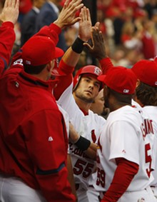 BILL GREENBLATT/UPI - What at-bat songs Adam Wainwright will choose for Skip Schumaker this year remains to be seen.