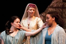 JOHN LAMB - Orual (Sarah Cannon), Michelle Hand (Queen) and Psyche (Rory Lipede) beautify C.S. Lewis' Till We Have Faces.