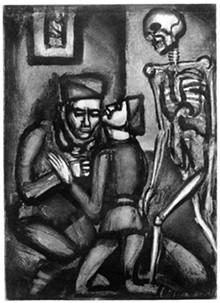 SAINT LOUIS UNIVERSITY'S MOCRA - Georges Rouault, Miserere et Guerre, No. 36: Ce sera la dernière, petit père! (This will be the last time, father!), 1927.