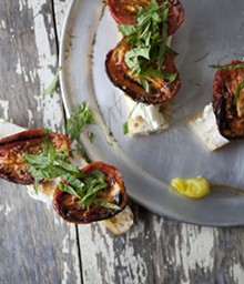 JENNIFER SILVERBERG - Beautiful beginnings: Bruschetta with roasted tomatoes, fresh ricotta and mint. For more photos, check out our complete slideshow of Salume Beddu.