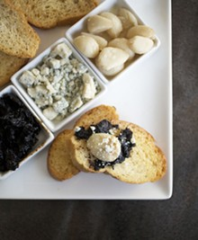 JENNIFER SILVERBERG - Ajo Asado - warm roasted garlic with house made balsamic jam, cabrales Spanish blue cheese, crostini and lavash.