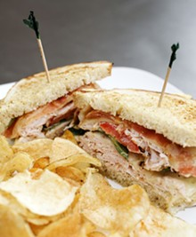 JENNIFER SILVERBERG - The roasted turkey club on grilled Italian bread. Click here for a full slideshow from Six Row Brewing Company.