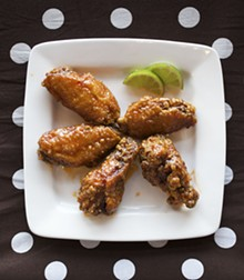 "JENNIFER SILVERBERG - O my: O! Wing Plus' ""Thai Chile-Lime"" wings pack a hot, citrusy punch. For more photos, visit our slideshow O! Wing Plus: Feeling Saucy?."