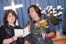 MIA ULMER/BIRCHTREESTUDIO.COM - Above: Darlene Self and Katy Hawker, bride and bride.