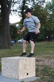 JASON STOFF - Alex Born leads members of Primal Living STL through an intense workout every Tuesday evening at Tower Grove Park.