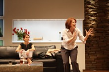 SANDY UNDERWOOD - Parents behaving badly: Susan Louise O'Connor and Eva Kaminsky in Yasmina Reza's God of Carnage.