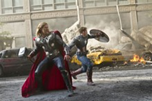 MARVEL STUDIOS - Thor (Chris Hemsworth) and Captain America (Chris Evans) join forces in The Avengers.