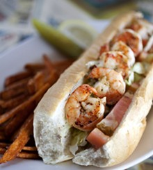 JENNIFER SILVERBERG - Grilled Shrimp Po' Boy with sweet potato fries.