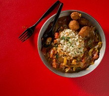 JENNIFER SILVERBERG - Etouffee is a creole dish with peppers, onions, celery. Here, it's shown with crawfish, and served over a bed of rice. Slideshow: Photos from Inside The Kitchen Sink.