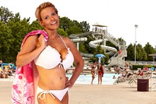 """STEVE TRUESDELL - """"Appropriate body coverage must be maintained at all times,"""" reads the guidelines for Ballwin's North Pointe Family Aquatic Center. We see nothing inappropriate in Rachel's frilly, white string-bikini. Do you?"""
