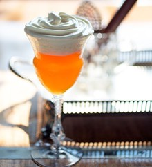 """JENNIFER SILVERBERG - A """"Tripel Fashioned"""" is made with Don Q Anejo rum, Blanton's, Giraud Cognac VSOP, orange, chocolate, Angostura bitters and sorghum foam. See also: Step inside Tripel with our photo gallery."""