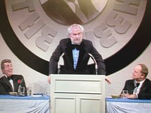 STARVISTA ENTERTAINMENT - Foster Brooks roasts Don Rickles (on right) as Dean Martin looks on, from the roast that aired on NBC in February 1974.