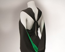 Bias-cut halter crepe evening dress with green accents, ca. 1932–1935. Made by Gottlieb, New York. Gift of Mrs. Eugene D. Nims Estate.