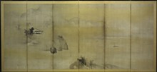 Kaihô Yûshô, Japanese, 1533–1615; Landscape, c.1602; Momoyama period (1573–1615); six-panel folding screen: ink and gold on paper; overall: 69 1/4 in. x 12 ft. 4 1/2 inches; Saint Louis Art Museum, Friends Fund 59:1962.1,.2