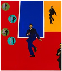 "Rosalyn Drexler (American, b. 1926), Chubby Checker, 1964. Acrylic, oil, and paper collage on canvas, 75 x 65 1/4"". Hirshhorn Museum and Sculpture Garden, Smithsonian Institution, Washington, DC, Gift of Joseph H. Hirshhorn, 1966. © 2017 Rosalyn Drexler / Artists Rights Society (ARS), New York."