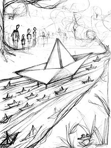 """""""Sketch for Paper Boat, 2019."""" Graphite on paper. Courtesy of Carlos Zamora and Laumeier Sculpture Park, St. Louis"""
