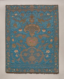 Simhah Viterbo, Italian, 1739–1779; Torah Ark Curtain (Parokhet), 1754–55; silk, silk and metallic thread, vellum, metal sequins, metal wire, cotton thread, velvet, metallic fringe, and linen backing; 87 × 66 in. (221 × 167.6 cm); Saint Louis Art Museum, The Deane and Paul Shatz Endowment Fund for Judaica 2:2019 - Uploaded by cameron.wulfert