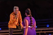 COURTESY THE SHAKESPEARE FESTIVAL - André De Shields (Lear) and Rayme Cornell (Goneril) in the 2021 St. Louis Shakespeare Festival production of King Lear.