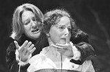 KEN HUTH - A boy and his mother: Kelli Fox and Carolyn Swift in Hamlet.