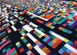 """PHOTO PROVIDED - A detail of one of Phillip Stearns' """"Fragmented Memory"""" textile works, part of the current show at Rochester Contemporary."""