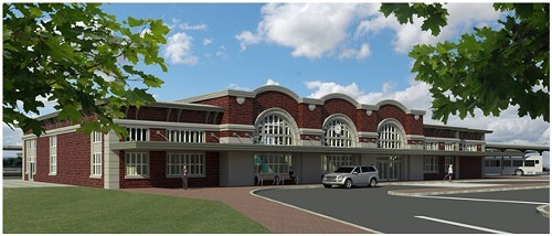 A rendering of the planned city train stations exterior.