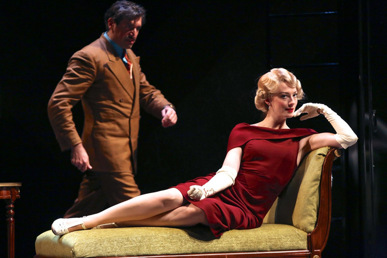 """click to enlarge PHOTO BY KEN HUTH - A scene from """"The 39 Steps,"""" now on"""