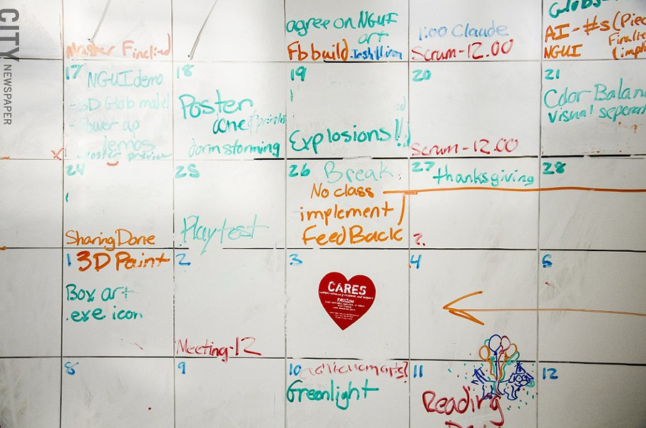 A whiteboard inside RIT's MAGIC center. - PHOTO BY MARK CHAMBERLIN