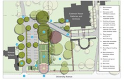 An alternative plan for the property, proposed by the George Eastman House, calls for keeping and renovating the Monroe Voiture building and creating gardens, a sculpture area, and parking lot. - PROVIDED PHOTO