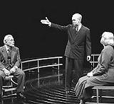 """KEN A. HUTCH - An atomic limbo: Robert Grossman, Pat Nesbit, and Christopher Gurr star in """"Copenhagen."""""""