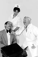 An old-school comedy: Roger Gans, Alecia Tahou, and Greg Byrne in The Sunshine Boys.